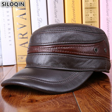 SILOQIN Middle-aged Mens Army Military Hats With Ears Autumn Winter Cowhide Earmuffs Flat Cap Leather Caps Genuine Hat