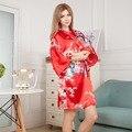 Самые Продаваемые Лето женские Короткие Кимоно Мини Ночь Халат Bathgown красный Искусственный Шелк Ванна Платье Ночная Рубашка Pijama Mujer Один Размер Msf006