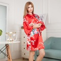Top Selling Summer Women's Short Kimono Mini Night Robe Bathgown Red Faux Silk Bath Gown Nightgown Pijama Mujer One Size Msf006
