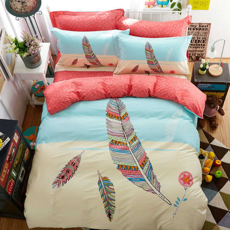 fresh simple style colorful feathers sheets sets coverlets cotton linens twinqueen size duvet cover - Queen Size Duvet Cover