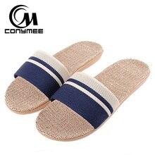 CONYMEE Для мужчин пляжные сандалии лето 2018 Для мужчин; льняные тапочки Повседневное кроссовки для домашняя обувь Шлепанцы мужские льняные тапочки