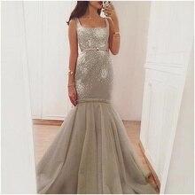 Einfache günstige perlen Silber abendkleid Nach Maß Saudi-arabien Design Meerjungfrau abendkleid vestido de noiva formale kleid