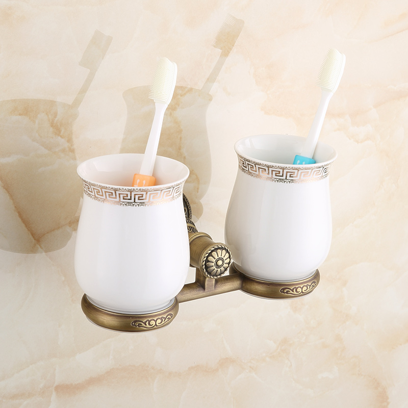 Antique Gold Bathroom Toothbrush Holder Luxury  European Carving Embedded Toothbrush Holder Bathroom Accessories туалетная бумага анекдоты ч 8 мини 815605
