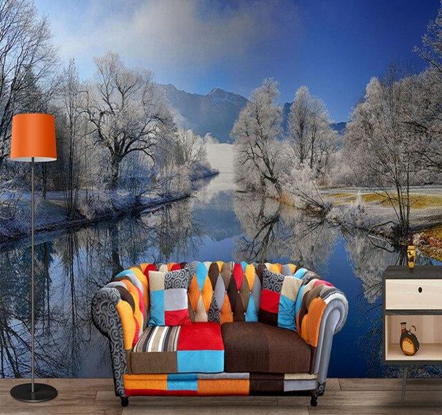 Benutzerdefinierte 3D Fototapeten Modern Wasser Reflexion Schnee Winter  Wandmalereien TV Hintergrundbild Wandbild Für Wohnzimmer Dekoration