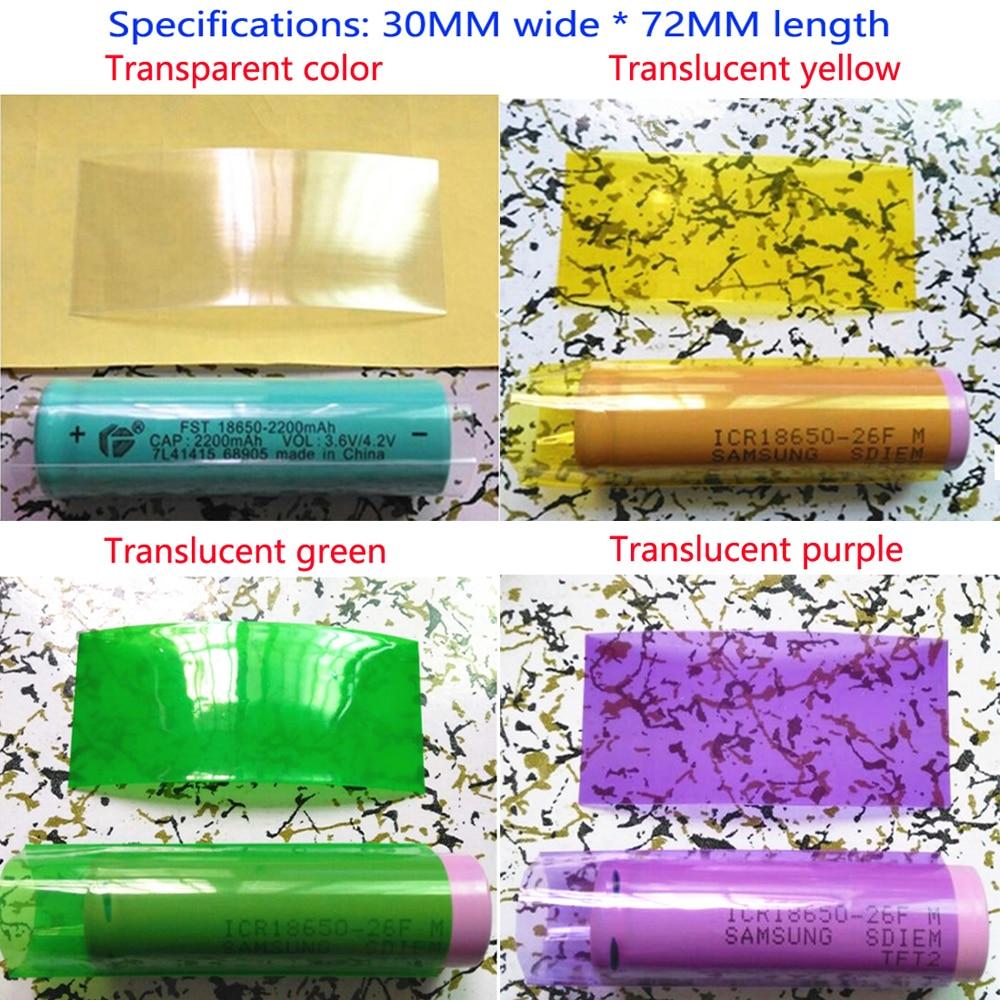 Купить с кэшбэком 100pcs/lot 1 section 18650 lithium battery, PVC shrink film, battery skin shrink wrap, shrink film, translucent green 30MM
