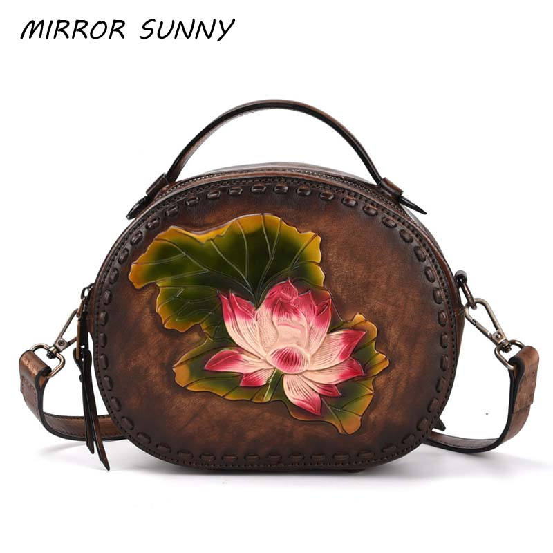 Vintage Women Crossbody Bag Head Layer Cowhide Lotus Top-handle Bags Female Small Single Shoulder Bag Genuine Leather Simple BagVintage Women Crossbody Bag Head Layer Cowhide Lotus Top-handle Bags Female Small Single Shoulder Bag Genuine Leather Simple Bag