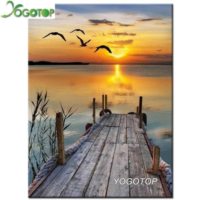 YOGOTOP Diy Diamond Painting Cross Stitch seagulls setting sun Diamond Embroidery Square Mosaic Decor natural landscape CV530