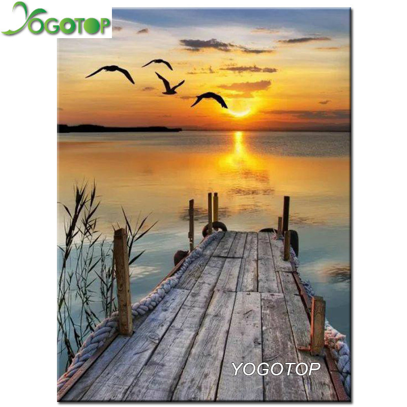YOGOTOP Diy Diamond Painting Cross Stitch seagulls setting sun Diamond Embroidery Square Mosaic Decor natural landscape CV530