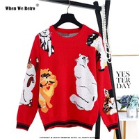 When We Retro Christmas Funny Tops Lady's Winter Sweater 2018 New Sweet 7 Cats Pattern Red Knit Pullover Chic Women Jumper YC33