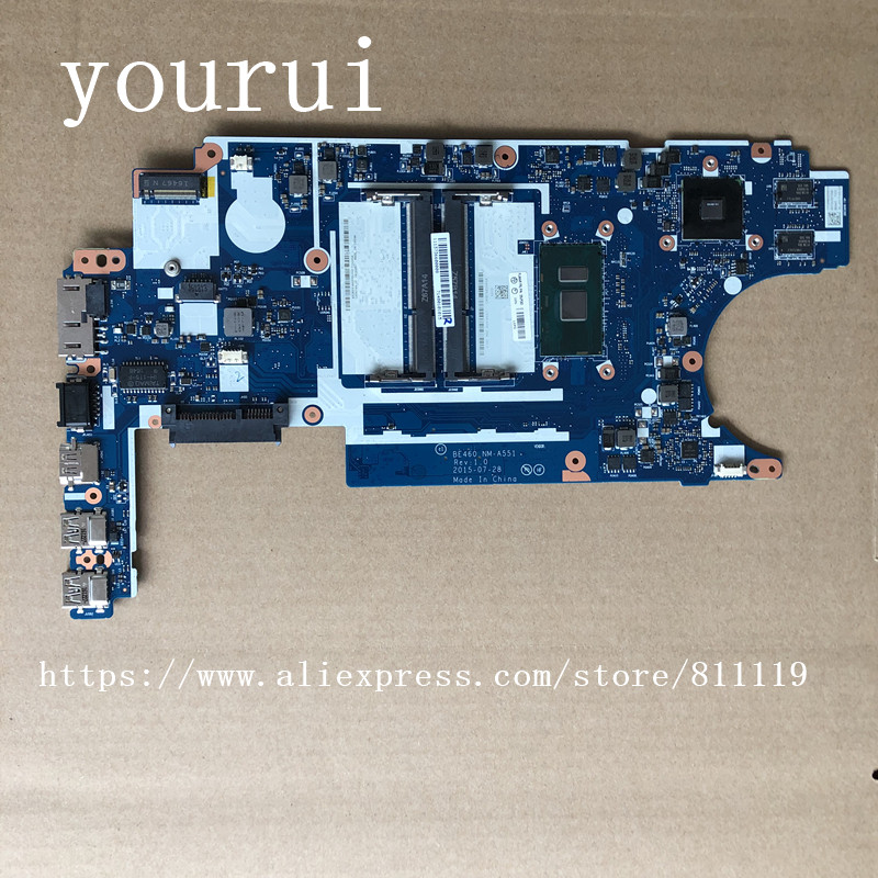 yourui  High quality For Motherboard For Lenovo ThinkPad E460  i5-6200u Processor BE460 NM-A551 FRU;00UP253 Fully Test