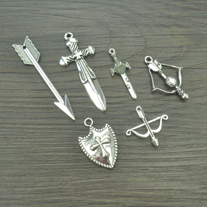 6 pcs Mix sale vintage tibetan silver Charms metal Arrow & Shield Sword Pendants for Jewelry Making DIY Handmade Craft 42113B