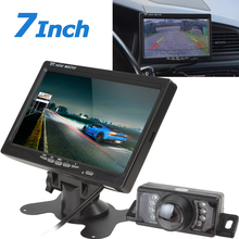 цена на 7 '' TFT LCD Color Car Rear View DVD VCR Monitor Parking Rearview Monitor 2 Video Input with 7 IR LED Lights Car Reverse Camera