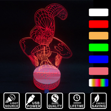 Acrylic Colorful changing nightlight Spiderman as gift for kid or friend LED home decor light LED