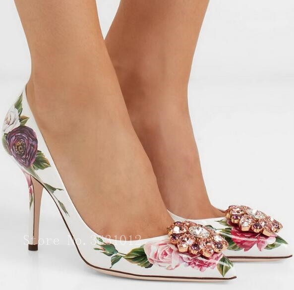 Colorful Crystal Decoration Glitter Woman Pumps Sexy Stiletto Heels Pointed Woman Shoes Flower Fruit Pattern Wedding Shoes
