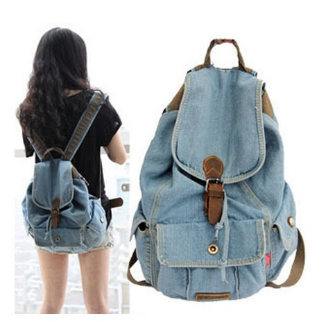 FREE SHIPPING New Women Girls Retro Jeans Backpack School Travel ...