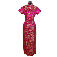 Hot Pink Traditional Chinese Women S Satin Long Halter Cheongsam Qipao Elegant Dress Flower S M