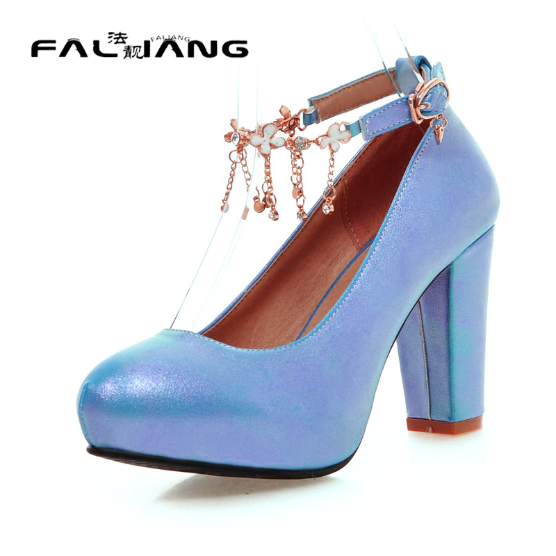 ФОТО Big Size 11 12 Sexy Crystal Buckle Casual Round Toe Square heel Women's Shoes Extreme High Heels Pumps Woman For Women