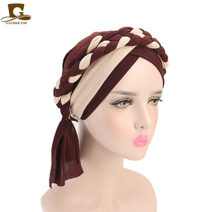 Image 1 - 여성 브레이드 모자 이슬람기도 터번 모자 이슬람 터번 포함 모자 여성 더블 컬러 히 자브 브레이드 캡 헤어 액세서리