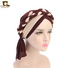Kobiety warkocz kapelusze islamski modlitwa turban kapelusze muzułmanin Turban sprzyjającego włączeniu społecznemu czapka kobiet podwójne kolor hidżab warkocze czapki akcesoria do włosów