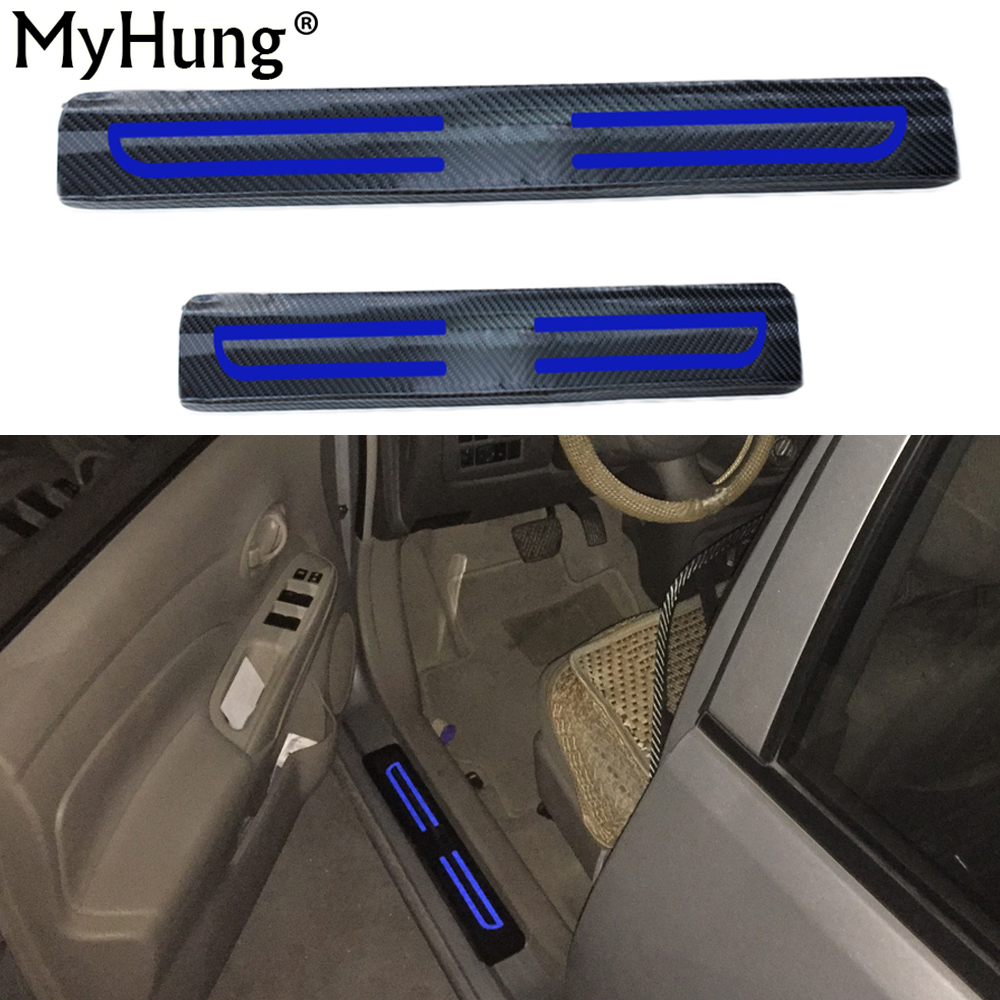 4D Carbon Fiber Reflective Car Scuff Plate Sticker Door Sill Stickers Welcome Pedal For Ford Focus 2 MK2 Car Accessories 4Pcs