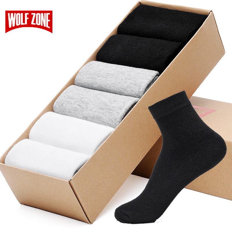 Brand High Quality Casual Men's Business   Socks   For Men Cotton Crew Autumn Winter Black White 6 Pairs Breatheable Man Long   Sock
