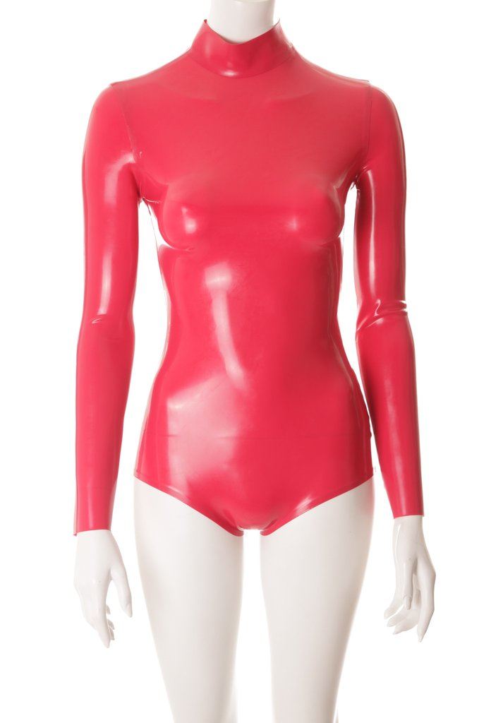 Latex Bodysuit with high neck, long sleeves and back zip fastening Red Rubber Latex Leotard khaki high neck long sleeves zip fastening hem midi dress