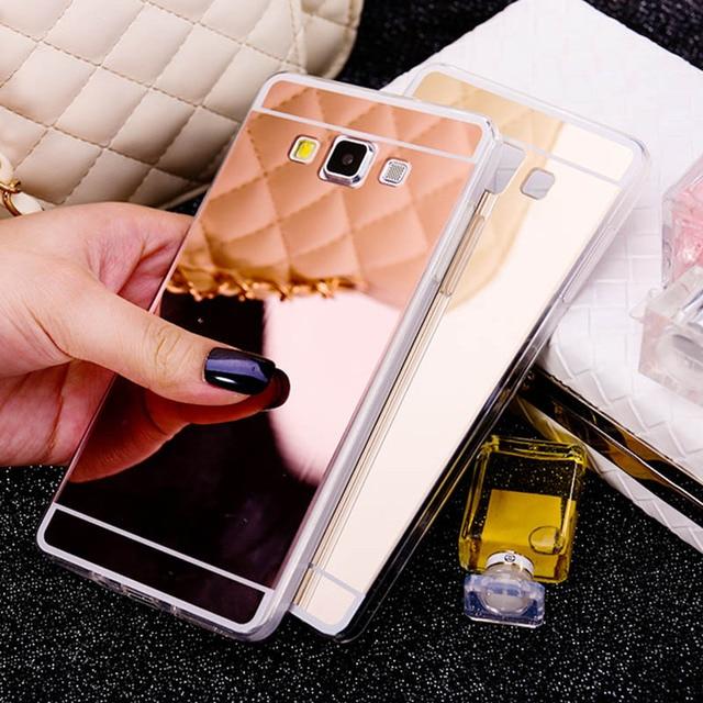 4d9dd4607 Espelho da moda Soft Case TPU Gel de Silicone Capa de Luxo Acrílico Coque  para Samsung