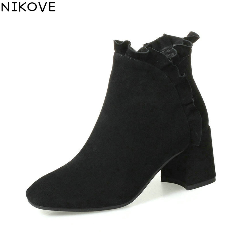 NIKOVE 2018 Women Boots Elegant Pointed Toe Square High Heels Ankle Boots Inside Short Plush/PU Black Ladies Boots Size 34-42 эспандер 160см housefit dd 61261