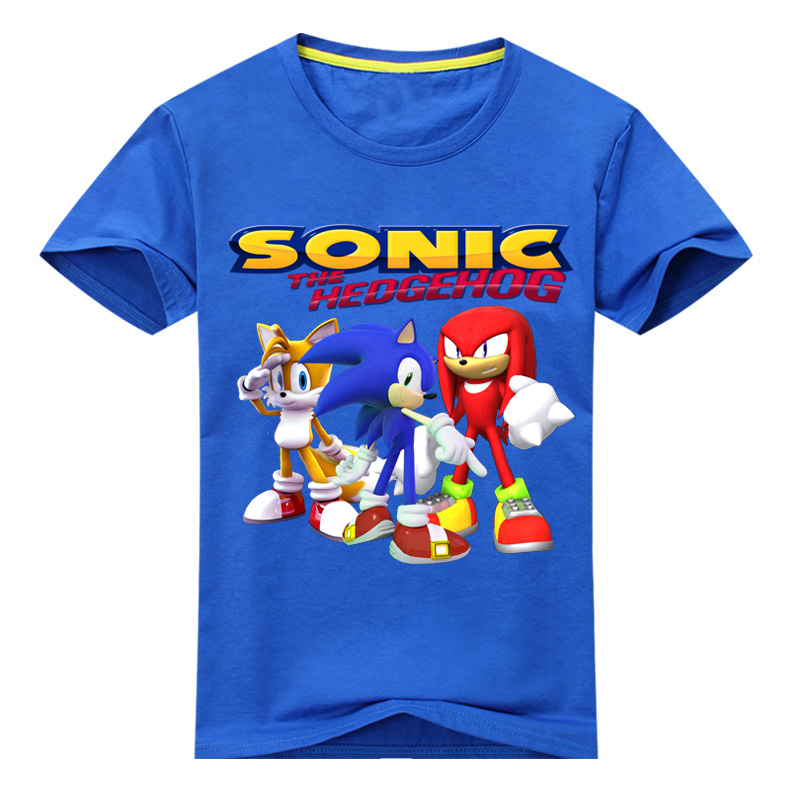 Kids 3D Cartoon Sonic Game Print T-shirts Costume Boys T Shirt Girls Summer T-shirt Clothing Children Tee Tops Clothes DX136 children summer hot shooting game print t shirt clothing for boy t shirts girls short tee tops clothes kids tshirt costume dx063
