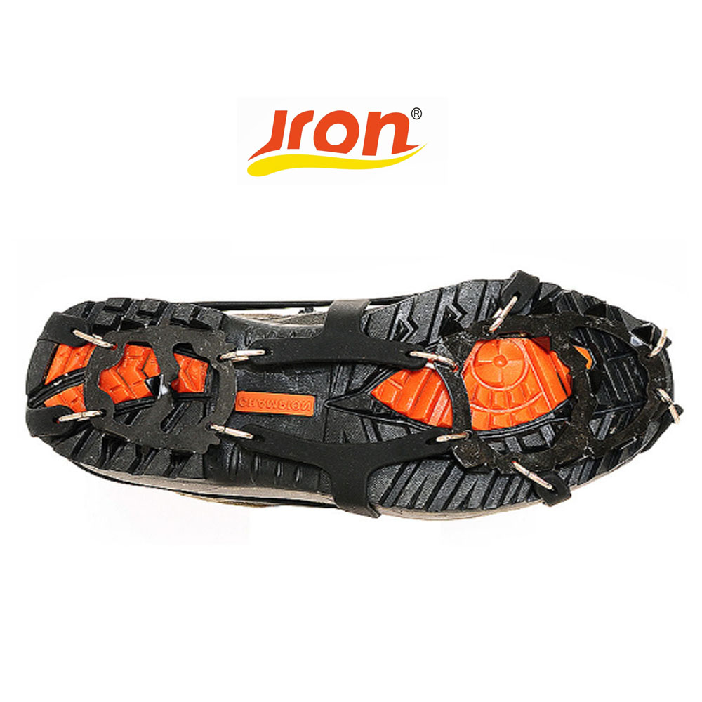 Jron 18-Teeth Traction Cleats for Walking on Snow and Ice Anti-slip Shoes Spikes Grips Cleats Crampons Climbing Ice Gripper