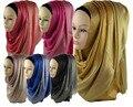 180*60 cm tamanho grande muçulmano cachecol longo metade prata shimmer glitter HIJAB islâmico xale turbante