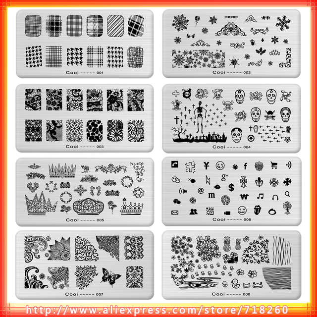 24pcs Christmas Valentines New Designs Cooi Nail Art Plate Sting Stainless Steel Diy Polish Print