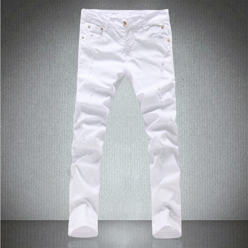 2018 New Style Hole Patch Beggars Slim Men Jeans Pants mens Denim Straight Trousers 28-34 NZK666