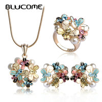 Blucome Simulated Pearl Enamel Jewelry Sets Blue Flower Necklace Earrings Ring Set For Women Bridal Bijoux