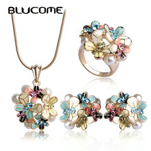 Blucome Simulated Pearl Enamel Jewelry Sets Blue Flower Necklace Earrings Ring Set For Women Bridal Bijoux Wedding Accessories недорого