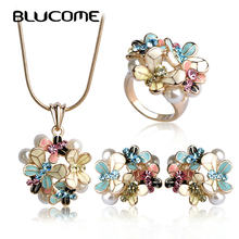 Blucome Simulated Pearl Enamel Jewelry Sets Blue Flower Necklace Earrings Ring Set For Women Bridal Bijoux Wedding Accessories(China)