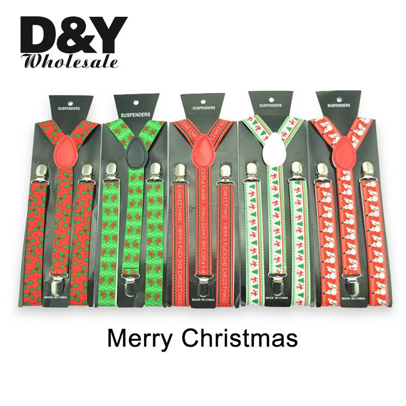 New Arrival 9 Colors Christmas Air Balloon Socks X-mas Tree Green Straps Men Women Clip-on Braces Elastic Slim Y-back Suspenders
