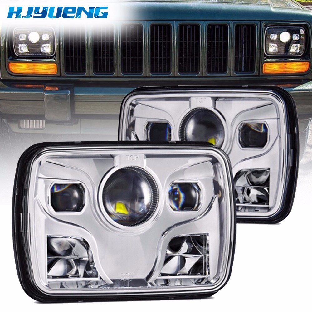 1 PCS For Jeep Wrangler TJ Motorcycle Truck Lamp H4 Hi/lo Beam 7 Square Headlight 80W 5x7 Sealed Beam Headlight Replacement