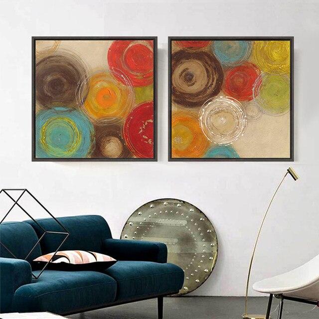Moderne Abstrakte Malerei Farbige Kreise Dekorative Künstler Leinwand Wand  Kunst Für Home Poster Bild Drucken Wohnzimmer Dekoration