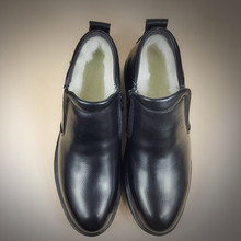 DXKZMCM Handmade Men Genuine Leather Winter Boots Warm Snow Men Boots Ankle Boots For Men Business Dress Shoes
