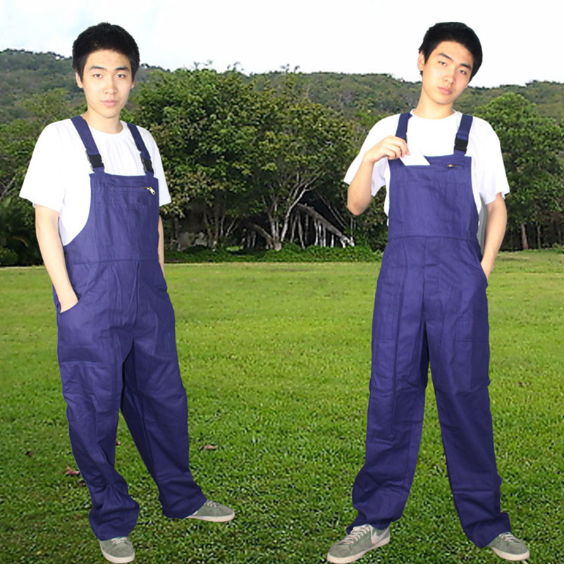 Aolamegs Mens plus size bib overalls Male casual jumpsuits fashion casual blue cargo bib pants sleeveless work uniforms