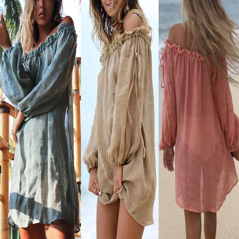 2019 New Chiffon See Through Cover-up Beachwear Bikini Cover Ups Summer Sale White Kaftan Swimwear Dress Multiple Colour