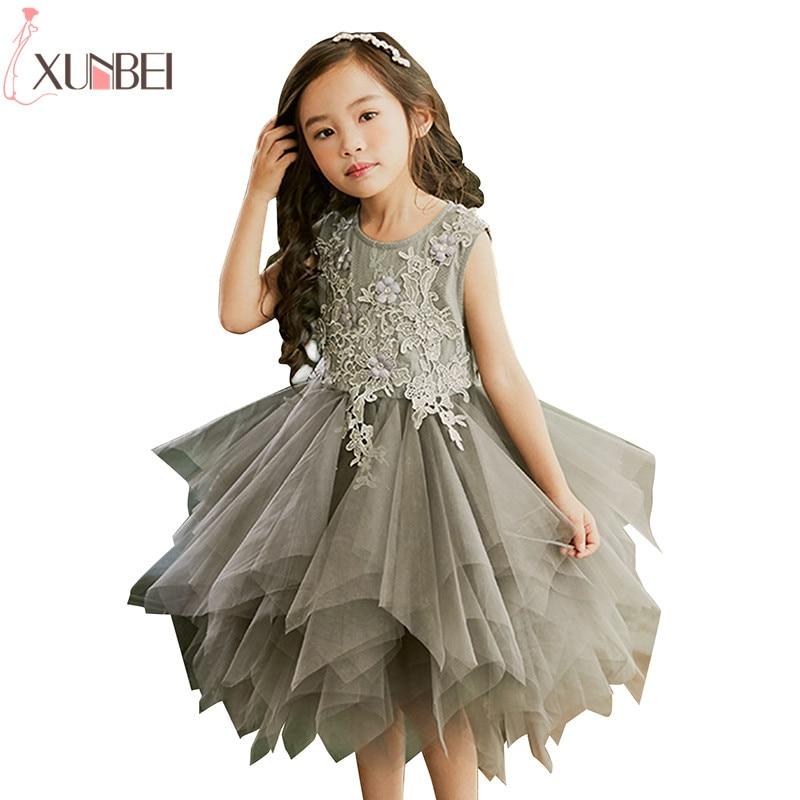 Lovely Ruffles Gray   Flower     Girl     Dresses   Lace 2019 Soft Tulle Pageant   Dresses   For   Girls   Kids Prom   Dresses   First Communion   Dresses