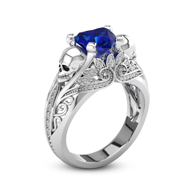 Fashion Flower Skull Skeleton Ring With Blue White Cubic Zircon Ring For Women Punk Jewelry Vintage CZ Evil Wing Style Ring