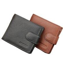 Fashion Neue Qualität Echtes Leder Männer Geldbörsen Kurz Stil Haspe Retro Reißverschluss Taste Schwarz Kartenhalter Münzfach Geldbörse Brieftasche