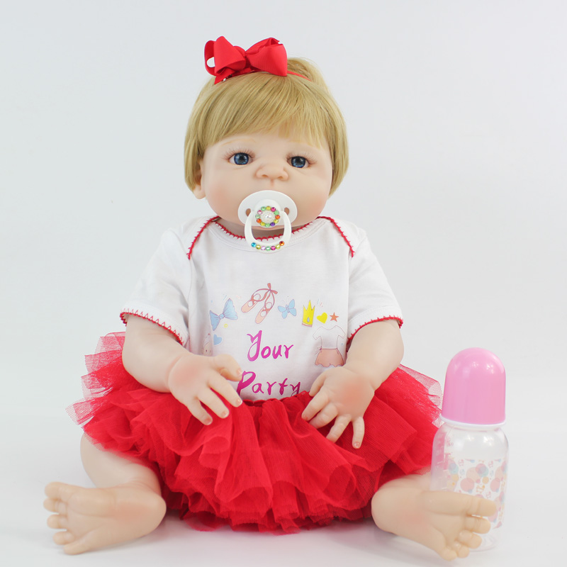 55cm Full Silicone Reborn Bebe Dolls Realistic 22 Vinyl Newborn Baby Toddler Princess Girl Waterproof Body Lovely Birthday Gift 55cm victoria soft vinyl reborn baby dolls in pink dress 22 inch full vinyl newborn bebe reborn doll princess girl birthday gift