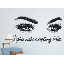 Lashes Make Everything Better Quotes Eyelashes Eye Decal Girls Vinyl Wall Sticker Beauty Salon Up Mural Wallpaper F902