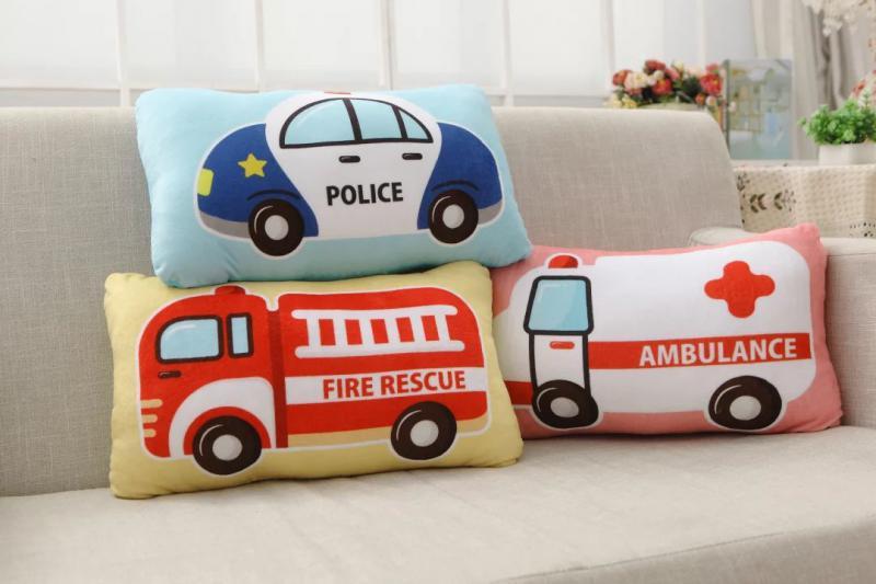 Leuke kinderen auto kussen gevulde pluche kussen fire rescue