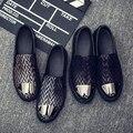 Мужские кожаные туфли на платформе прилив Корейских повседневная мужская обувь ноги ленивый обувь мужчины обувь из натуральной кожи Оксфорд мокасины квартиры обувь