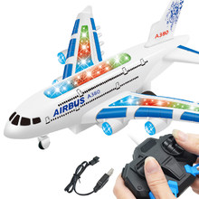 Kids RC Remote Control Airplane Toy Plane A380 Airbus - w/ Flashing Light & Jet Engine Sound - Great Gift for boys & girls(China)